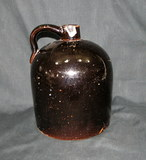 Vintage Unmarked Dark Brown Stoneware Jug Has Chip On Spout Otherwise In Go
