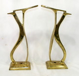 (2) Antique Solid Heavy Brass Shoe Shine Stands. Cobbler Shoe Form Stands U