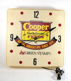 1950s-1960s Lighted Advertising Clock Cooper Feeds S&H Stamps. Clean, Light