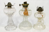 Lot Of 3 Clear Glass Kerosene Table Lamps.  9-3/4