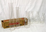 Lot Of (7) Assorted Clear Glass Chimnys No Chips Cracks Ranging In Height F