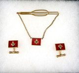 Mens Free Mason 1/20-12K Gold Filled Cuff Links And Tie Clip With Red Glass
