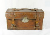 Vintage Leather Bound Tin Range Bag Ammo Box with 4 Compartments Inside For