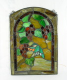 Vintage Stained Glass Hanging, Humming Bird Scene, Good Condition Has 3 Cra