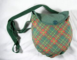 Vintage used Girl Scouts Camping Mess Kit with Green Plaid bag.