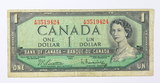 1954 Canadian One Dollar Paper Money