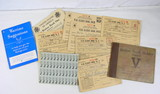 Group of WWII War Ration Booklets & Stamps