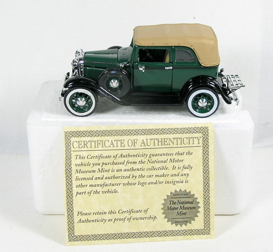Diecast Replica of 1932 Ford  Convertible Sedan From National Motor Museum