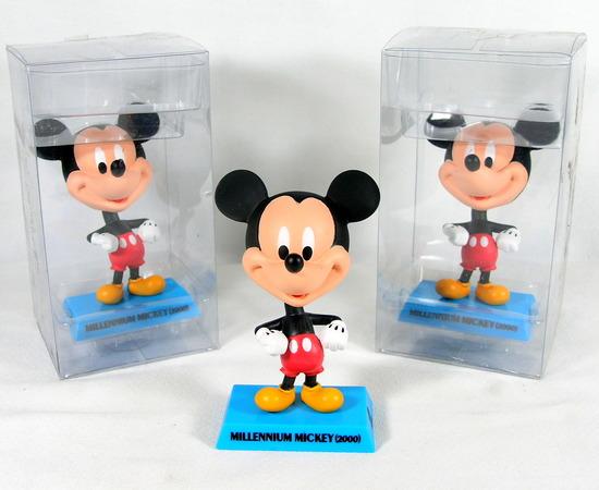 "(3) Upper Deck  Disney ""2000 Millenium"" Mickey Mouse Bobble Heads.  4-3/4"""