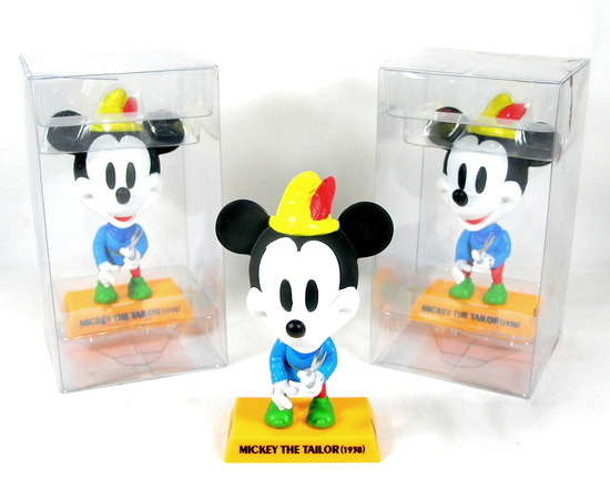 """(3) Upper Deck  Disney """"1938 Mickey The Tailor"""" Mickey Mouse Bobble Heads."""