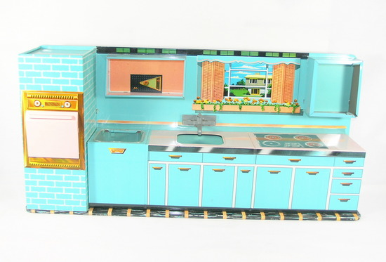 1950s-1960s Superior Toy by T Cohn Tin Litho Kitchen For Parts or Restore.