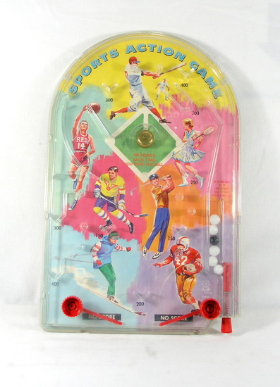 Vintage 1960s Hasbro Sports Action Game Pinball. Good Used Working Conditio