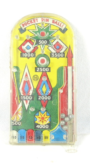 Vintage 1950s-60s Marx Pocket Pinball Game. Good used Working Condition. 5-
