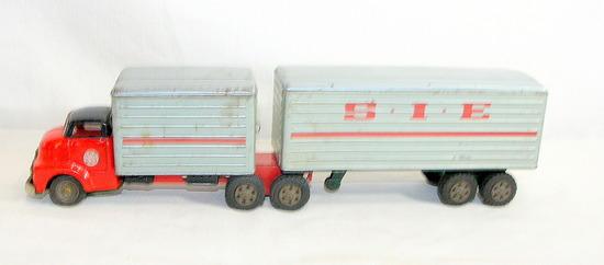 Vintage 1950s-1960s Japan Tin Friction Drive GMC (SSS)  S.I.E. Semi & Trail