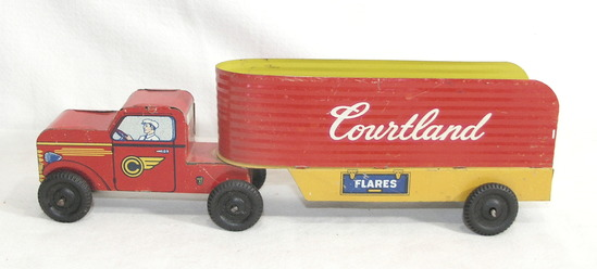 Vintage 1950s -60s Walt Reach Courtland Tin Truck and Trailor Missing Tailg