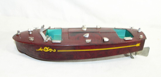 Vintage Ideal Hard Plastic Wind up Motor Boat For Repair or Restore. Missin