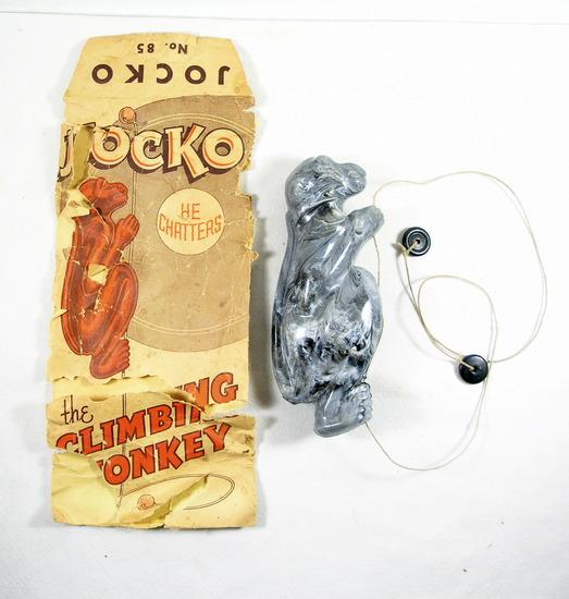 Vintage Jocko No. 85 Plastic Climbing Monkey. Works. Also original bag in P