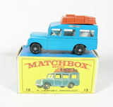 Vintage Matchbox Diecast Replica #12 Safari Land Rover With Box. A Lesney P