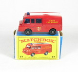Vintage Matchbox Diecast Replica #57 Land Rover Fire Truck With Box. A Lesn