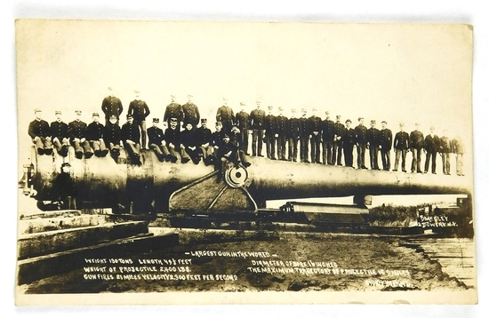 03.  RPPC:  c1916 Largest Gun in the World Weight 130 Tons; Weight of Proje