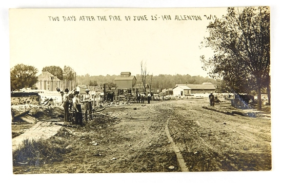 04.  RPPC:  1910 Two Days After the Fire of June 25 Allentown, Wis.  CONDIT