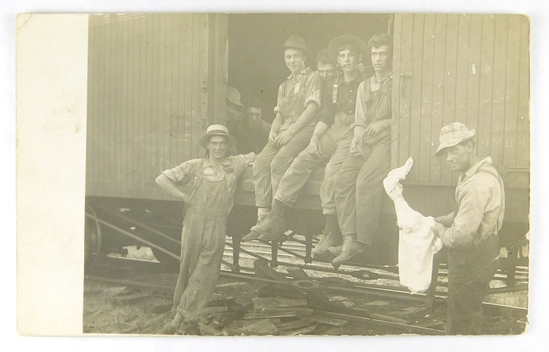 13.  RPPC:  c1915 Mr. Arthur Wolf and Track Crew back at the Station after