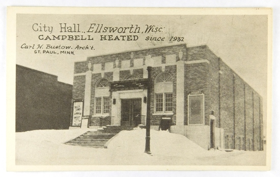 14.  Printed Post Card:  c1936 City Hall Ellsworth, Wisc. Campbell Heated s