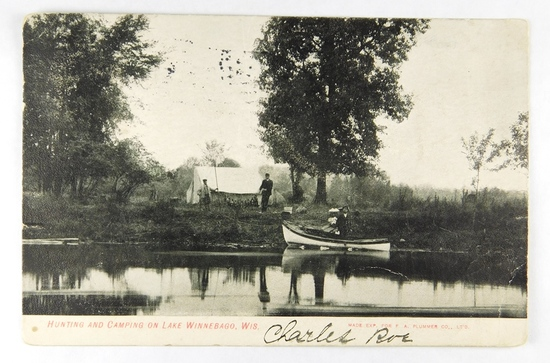 16.  Printed Post Card:  1906 Hunting and Camping on Lake Winnebago, Wis.
