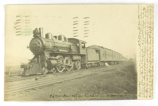19.  RPPC:  1909 Wisconsin Central 267 Passenger Engine Whips past Trout Br