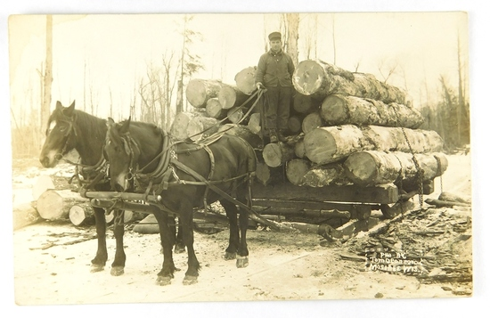 20.  RPPC:  Nice load of Hardwood Timber from the forest near Mosinee, Wisc