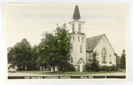 22.  RPPC:  1940's partially colored of Our Saviors Lutheran Church Iola, W