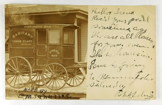 33.  RPPC:  c1915 Newly Constructed Sanitary Cream Plant Milk Wagon for Wm.