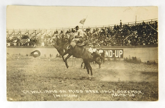 41.  RPPC:  1920's C. R. Williams on Miss Beer Lager Bozeman Round-Up.  (Do