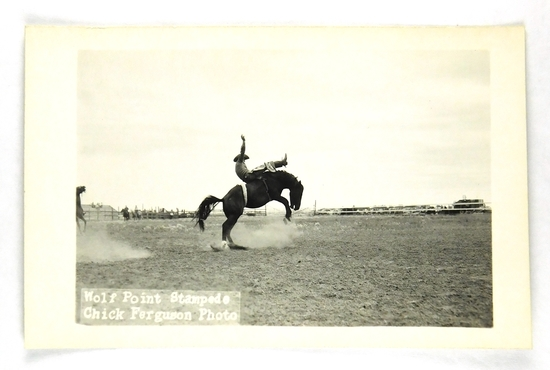 46.  RPPC:  1930's / 1940's Wolf Point (Montana) Stampede Brown Shirt Rider