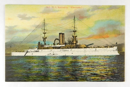 "51.  Printed Post Card:  1920's U.S. Battleship ""Wisconsin"".  This famous s"