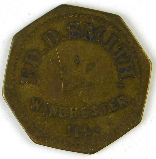 56.  Illinois Brass Trade Token:  Ed. D. Smith, Winchester, Ill. – Good For