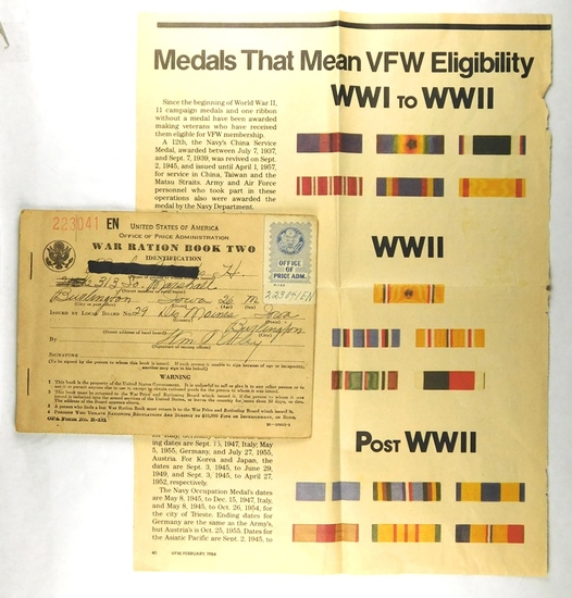 78.  WW II Grouping including:  Ration Book Cover, only; Medal Ribbon Badge