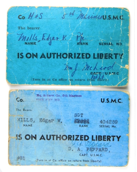 80.  WW II Era Liberty Passes (2) Issued to P/c and Sgt. Edgar W. Mills 5th