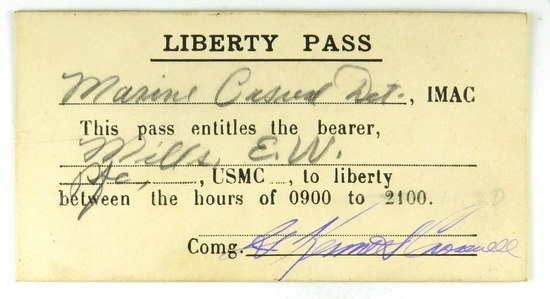 83.  WW II Era Liberty Pass USMC E. W. Mills between the Hours of 0900 to 2