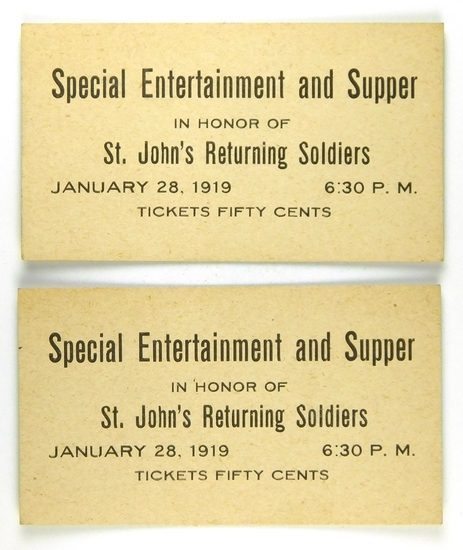 89.  (Newfoundland) Tickets (2) – Special Entertainment and Supper / In Hon