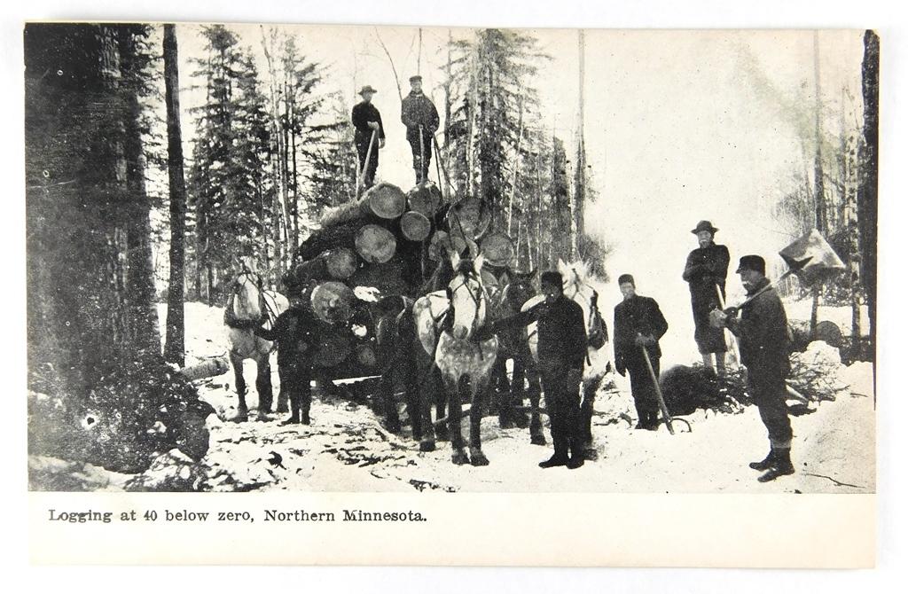 05.  Printed Post Card:  c1912 Logging at 40 below zero, Northern Minnesota