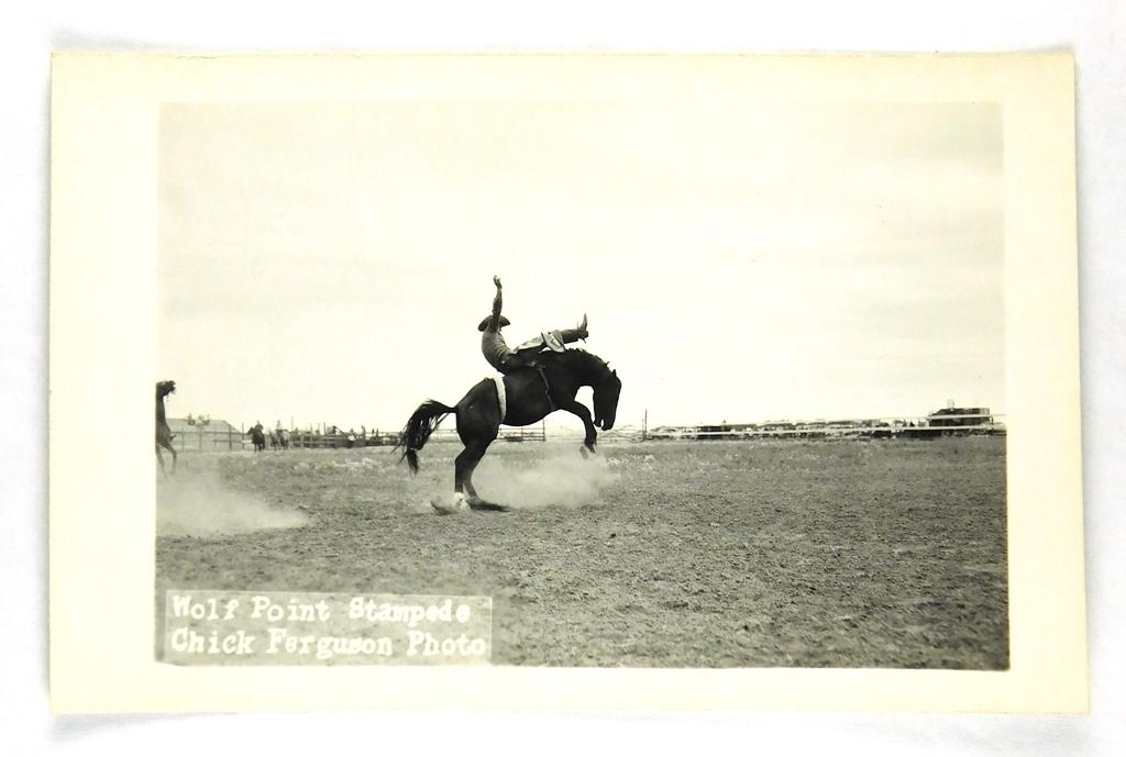 46.  RPPC:  1930's / 1940's Wolf Point (Montana) Stampede Brown Shirt Rider