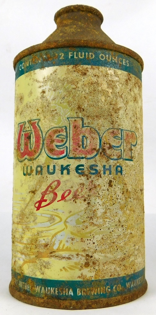 86.  Webber Cone Top Beer Can.  CONDITION:  Fine with rust damage; VALUE: