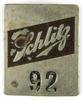 76.  1940's Schlitz Milwaukee Beer Enameled Nickel Employee #92 ID Badge.