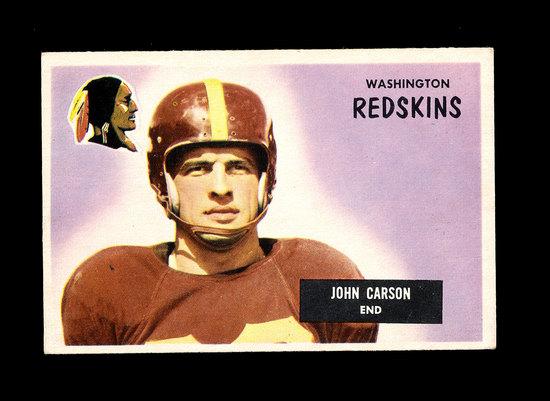 1955 Bowman Football Card #22 Johnny Carson Washington Redskins.