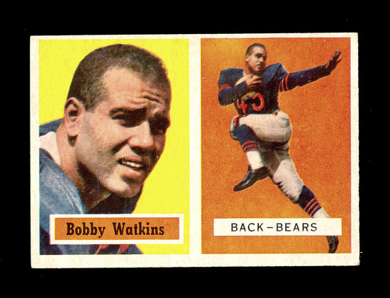 1957 Topps Football Card #7 Bobby Watkins Chicago Bears.