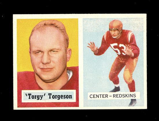 1957 Topps Football Card #12 La Vern Torgeson Washington Redskins.