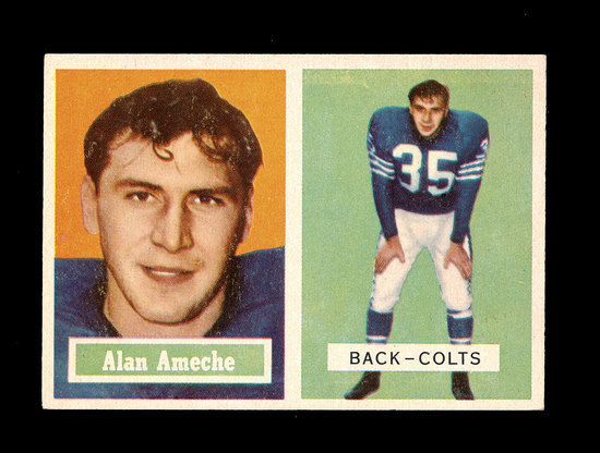 1957 Topps Football Card #53 Alan Ameche Baltimore Colts.