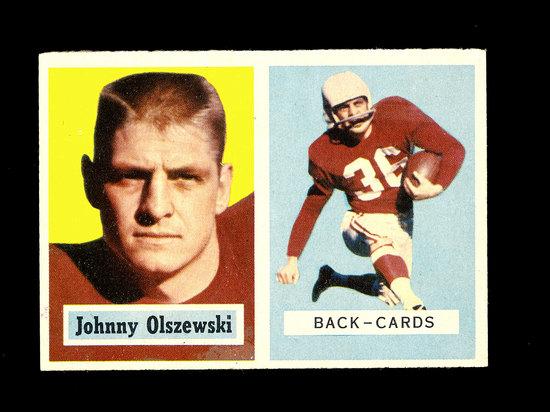 1957 Topps Football Card #62 Johnny Olszewski Chicago Cardinals.