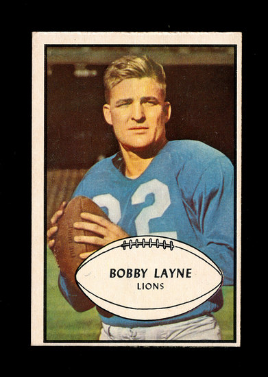 1953 Bowman Football Card #21 Hall of Famer Bobby Layne Detroit Lions. Has